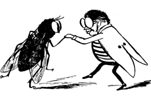 Edward Lear, man with insect, sketch of man with fly