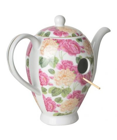 Ceramic chintz design coffee pot bird house nesting box available in different colours