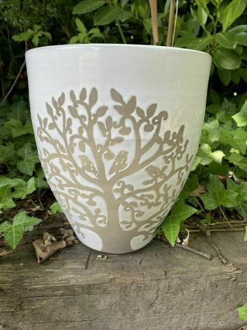 Tree of Life glazed stoneware pot