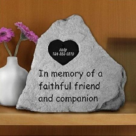 Faithful Friend & Companion Memorial Stone with Tag for Personalising.  13 x 11cm approx.