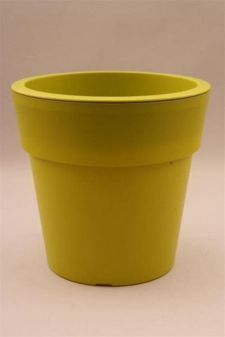 Plastic Flower Pot Shape Planter PISTACHIO 29cm diameter. Indoors or Out