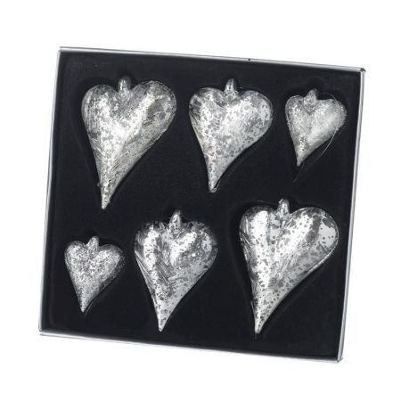 Vintage Silver Glass Heart Baubles Christmas Tree Decorations.  Set of 6