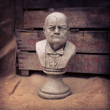 Winston Churchill Bust Garden Ornament made from Reconstituted Stone.  BT8