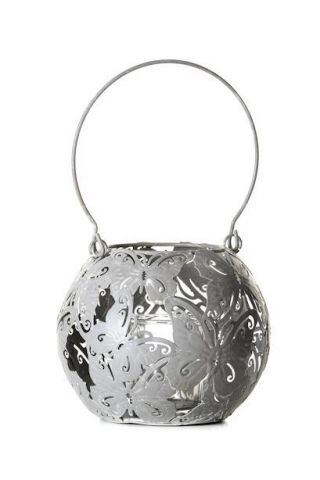 Round Metal Butterfly Lantern with Hanging Handle