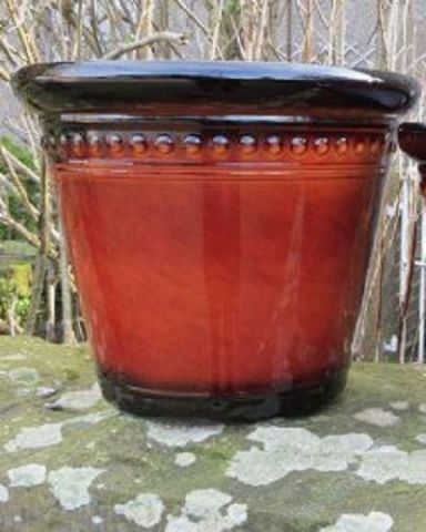 Large 40cm diameter plant pot in reds and browns. High gloss finish H6012