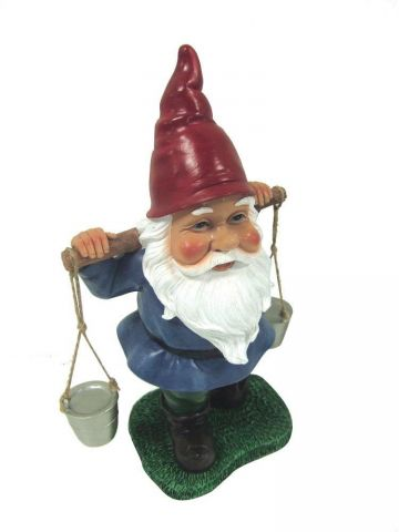 Garden gnome water carrier ornament.. 30cm tall
