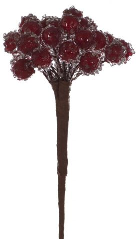 Frosted Red Berry Cluster Pick x 4  14cm