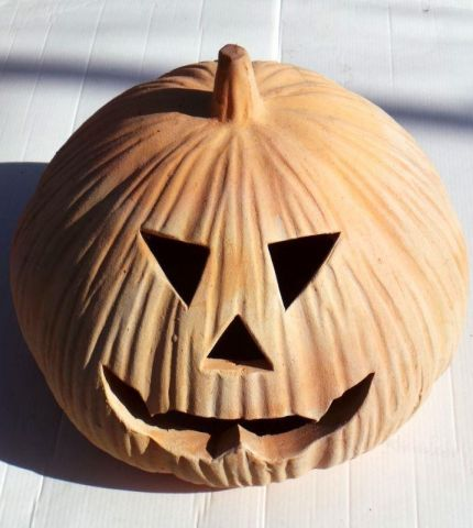 Terracotta Pumpkin Lantern. 29 x 26cm (Fang Design) Halloween