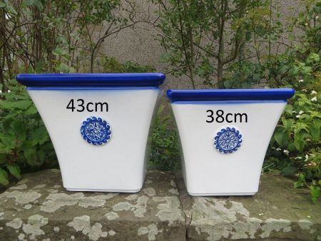 Elegant Square Plant Pot in White & Blue 43cm Diamater