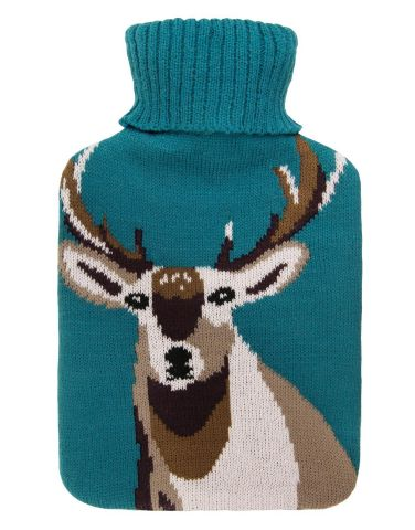 Fragranced Hot Water Bottle with Knitted Cover STAG