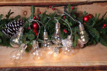Vintage Style Spiral Fibre Optic Element Bulb Garland. Battery operated.