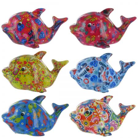 Pomme-Pidou Twisty the Dolphin Money Box. High gloss decoupage finish. Choose the colour!