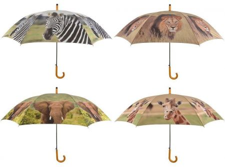Large Umbrella with African Animal Pictures. Lion. 120cm diameter
