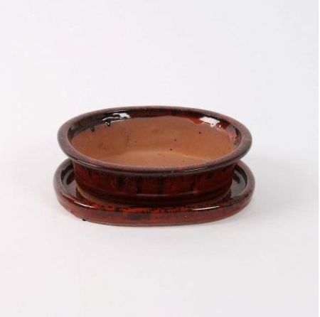 Oval Bonsai Dish and Saucer 20cm wide.   Deep Red