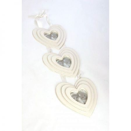 3 Painted Shabby Chic Wooden Hearts Hanging Photo Frame on Ribbon. 22 x 74cm