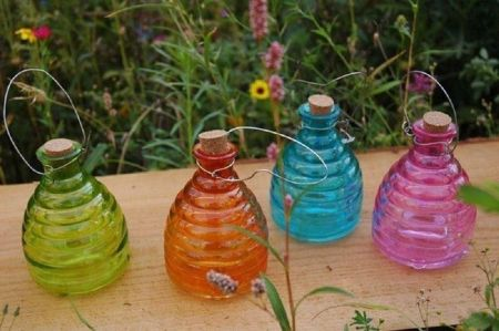 Glass wasp trap - large 15cm Diameter.  4 Colours available.  Garden Insect Trap[Blue]