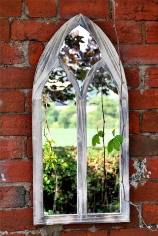Wooden Church Gothic Mirror for Garden or Inside with an Aged finish.  75cm tall