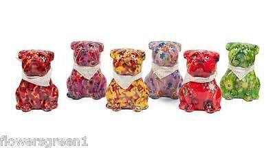Pomme-Pidou ceramic Sitting Bulldog Money Box.  Brightly coloured, funky and collectable ORANGE x1