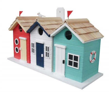 Wild Bird Nesting Box/Birdhouse in the shape of a Beach Hut British Designed
