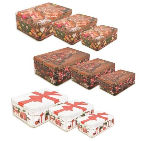 Set of 3 Rectangular Christmas Tins. Largest 28 x 18 x 9cm.  Christmas Tree Design