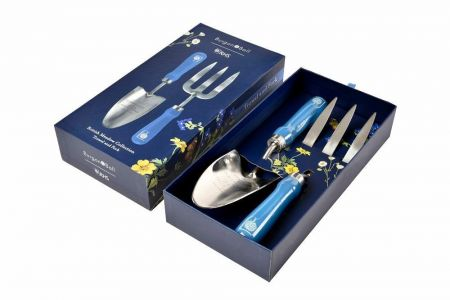RHS Gifts from Burgon & Ball BRITISH MEADOW Design Trowel & Fork in Gift Box