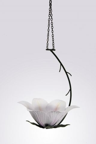 Wild Bird Hanging Feeder in the shape of a decorative Lily