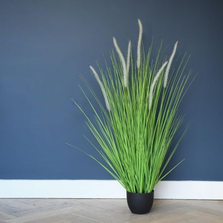 Havana Grass Plant Artificial Plant in a White Embossed Pot 95cm tall