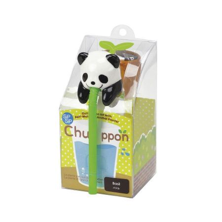 Novelty Animal Seed Kit. Chuppon Drinking Animal Planter. Panda/Basil