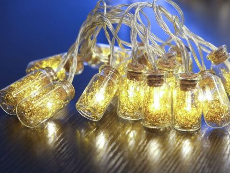 Gold Angel Hair Glass Jar Garland with 16 Warm White LEDs. Battery operated.