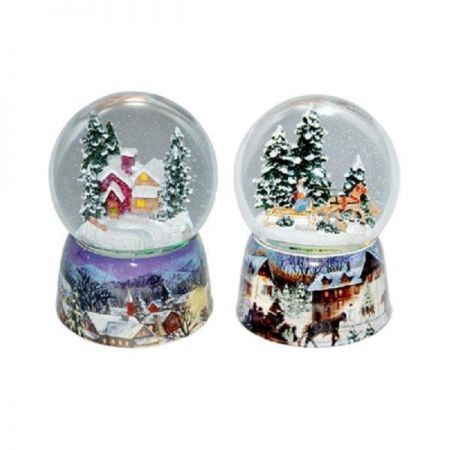 Traditional Glass Snow Globe Musicbox with Wintry Scene. Coloured Lights. Horse and Sledge