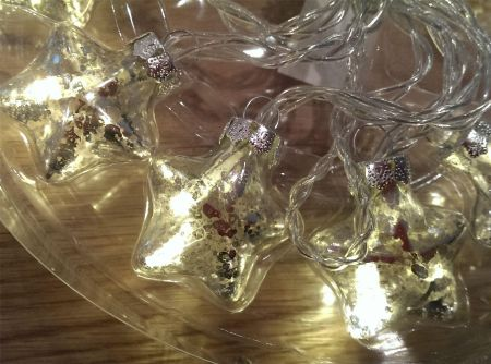 Antique Glass LED Garland with 10 lights. Choose Stars, Hearts or Pinecone.
