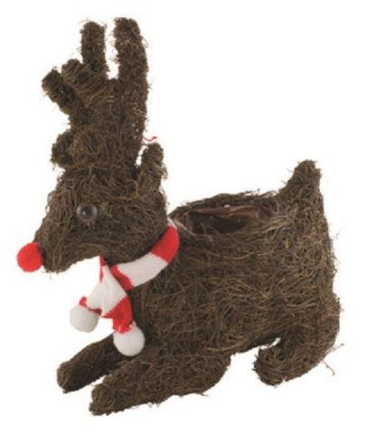 Reindeer Wearing a Scarf Planter Made from Natural Fibres