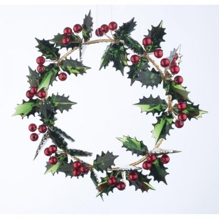 Acrylic Crystal Holly Berry Mini Wreath / Candle Ring 14cm