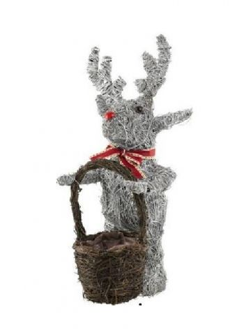 Standing Reindeer with Basket Planter made from Whitewashed Natural Salim