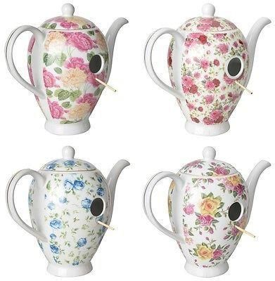 Chintz Ceramic Coffee Pot Bird House Nest Box.[Pink/Peach]