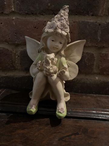Flower Fairy with a Squirrel Garden Statue 20cm tall approximately