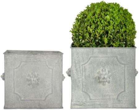 Set of two Aged Metal Square Lion Planters