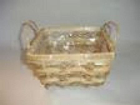 Square bamboo and seagrass weave lined basket with handles x 4