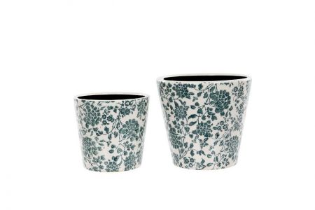 Set of 2 Ceramic Green Floral House Plant Pot Covers