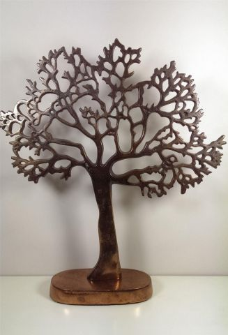 Oxidised Copper Tree of Life Decorative Ornament. 43cm tall.