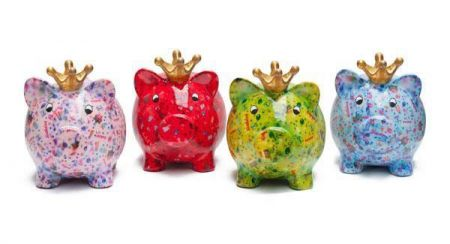 Pomme-Pidou ceramic Birthday Pig Piggy Bank. Ceramic, vibrant moneybox available in different coloursle in different colours