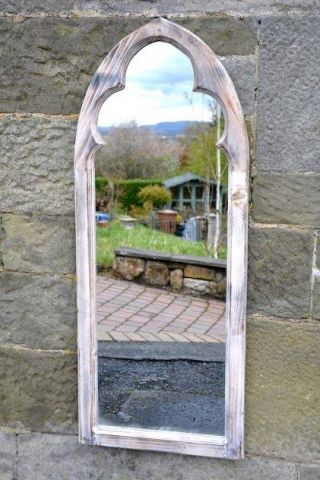 Garden or indoors mirror wooden mirror.  St Martins Style.  Limed, aged 99948