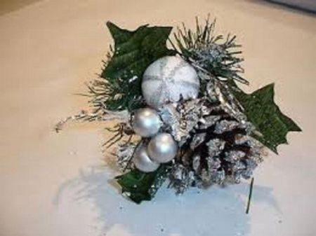 Superior quality silver Christmas picks x 3 with cone bauble berries foliage