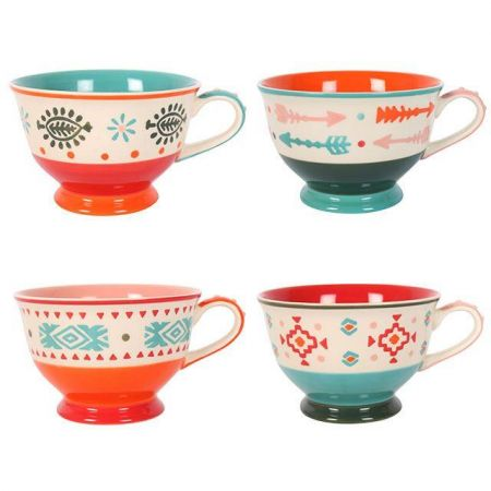 Hand Painted Teacup.  Set of 4