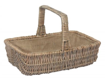 Rectangular Willow Garden Trug with Hessian Lining Small Size