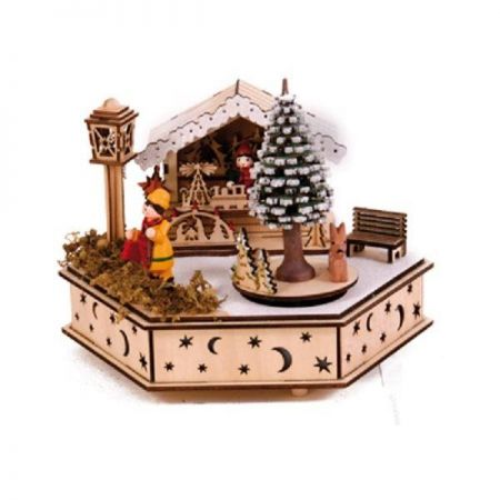 Wooden Hand Crafted Christmas Musical Box of Christmas Market with LED lights