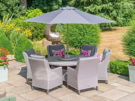 Oslo 6 Seater Round Dining Garden Set with 3m Stainless Steel Parasol and Base