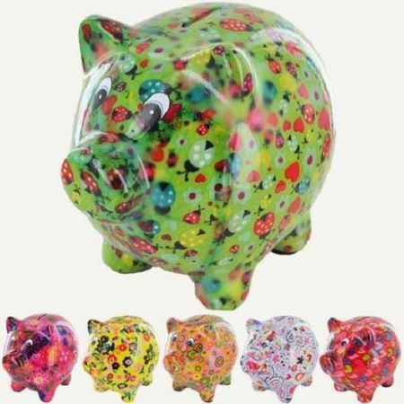 Pomme Pidou Pixie The Pig colourful ceramic decoupage style moneybox.  Choose your colour