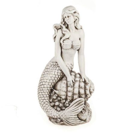 Sienna Mermaid on Shell Garden Statue Made from Crushed Stone & Polyresin. 60.5cm Tall