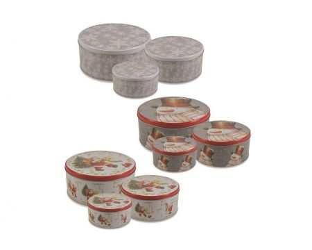 Set of 3 Christmas Cake Biscuit Tins. Contemporary Snowflake Design
